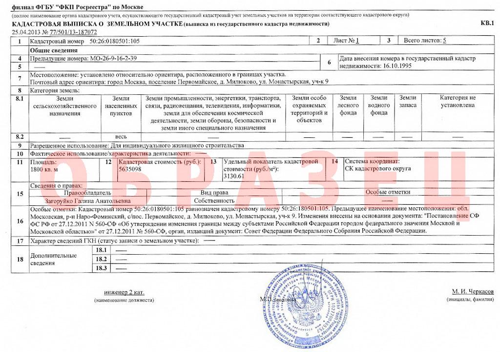 Форма Кадастрового Паспорта Земельного Участка Образец - фото 9