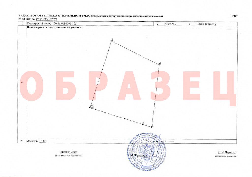 Кадастровая запись о земельном участке (документ 2)