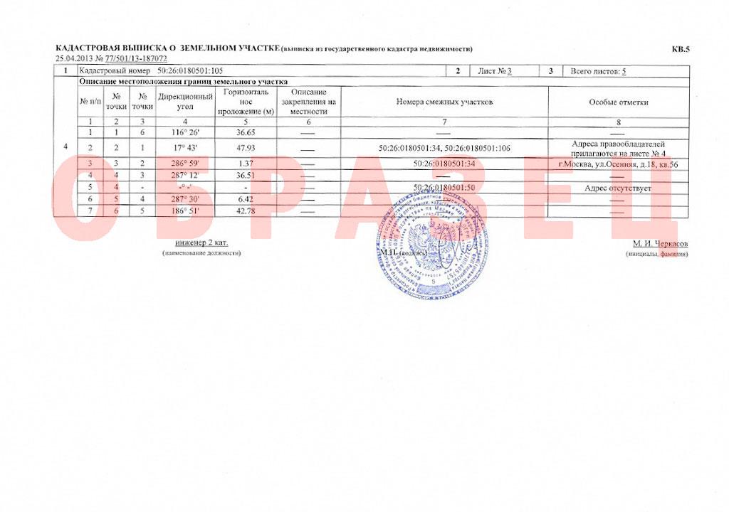 Кадастровые сведения о земельном участке (документ 3)